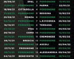 Pordenone: serie B, esordio il 21 agosto con il Perugia